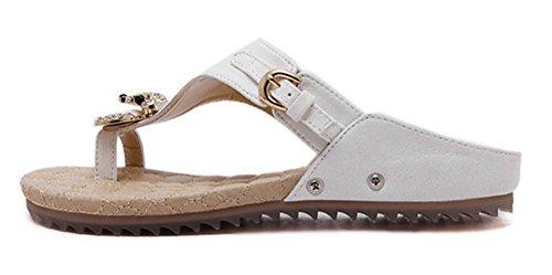 Minetom Mujer Verano Casual Diamantes De Imitación Sandalias Chanclas Planos Deslizamiento En La Comodidad Zapatos Piso Blanco