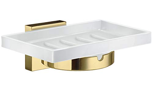 Smedbo House Holder with Soap Dish RV342P Polished Brass .Include Glue.Fixing Without Drilling - Soap Dish Smedbo