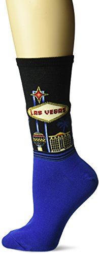 Hot Sox Women's Originals Classics Novelty Crew Socks, Las Vegas (Black), Shoe Size: 4-10