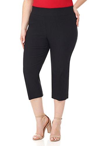 (Rekucci Curvy Woman Plus Size Classic Wide Waist Flattering Fit Capri (16WSHORT,Black) )
