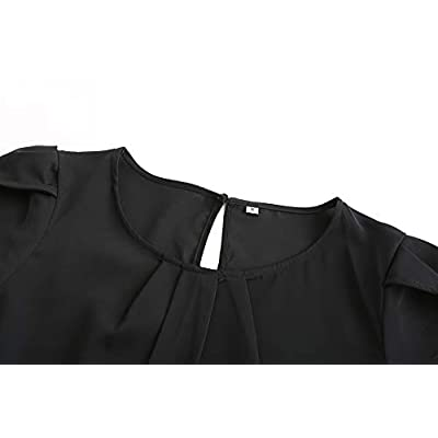 TASAMO Women's Casual Round Neck Basic Pleated Top Cap Sleeve Curved Keyhole Back Chiffon Blouse at Women's Clothing store