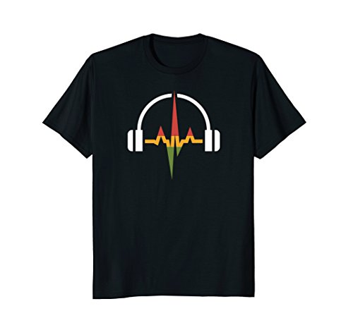 Mens Rasta Headphones And Music Wave T-shirt Large (Rasta Clothing)