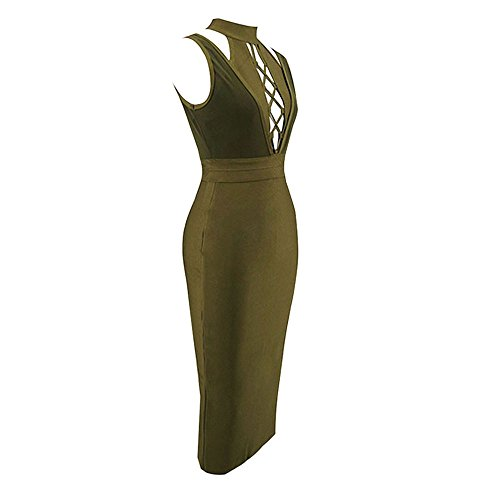 Neck Sleeveless Bandage Armee Grün Rayon Dress Strap HLBandage Women Cross Solid Halter Lacing a1qgw