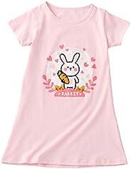 BLOMDES Girls' Floral Nightgown Flower Printing Sleepwear Cotton for 3-12 Y