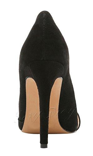Heels Mouth Damen Pumps Schuhe SexyPrey Schwarz Toe Shallow Stiletto große Wildleder Kleid wies High 6qIxxwpF