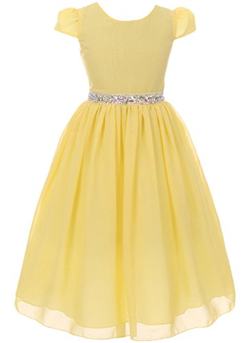 Little Girls Dress Short Sleeve Chiffon Rhinestone Belt Holiday Party Flower Girl Dress Yellow Size 6 (K64K20) (Jeweled Tulle Baby Dress)