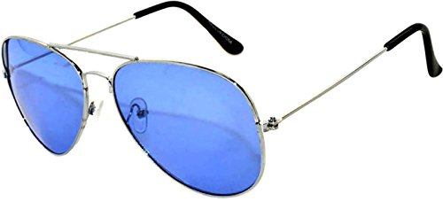Colored Metal Frame Aviator Style Sunglasses Colorful Lens (Avi_Blue_Lens_Gold_Frame, Mirror)