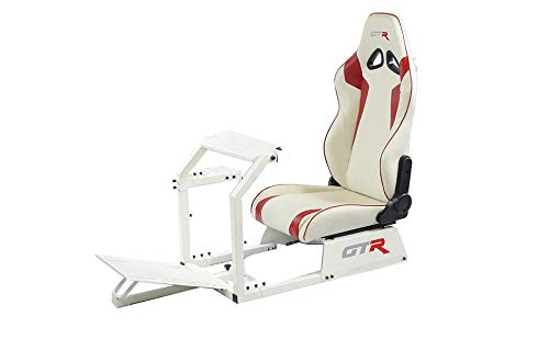 GTR Simulator GTA-WHT-S105LWHTRD GTA Model White Frame with White/Red Real Racing Seat, Driving Simulator Cockpit Gaming Chair with Gear Shifter Mount