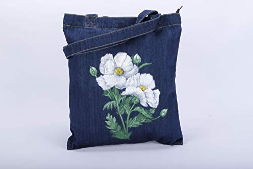 Hand Painted Medium Floral Camellia Jeans Bag with Zipper and Pocket,Women Soft Cotton Denim Bag,Canvas Vegan Tote Bag Shoulder Bag Handbag,White Flower Purse,Mom Wife Birthday Valentine's Day Gift
