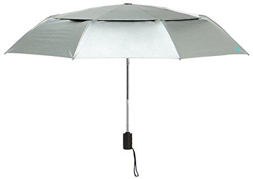 Coolibar UPF 50+ 42'' Titanium Travel Umbrella - Sun Protective (One Size- Silver/Green)