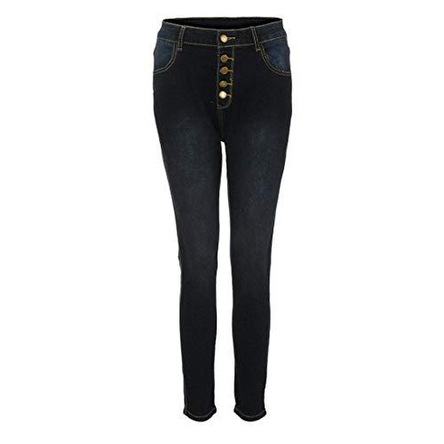 Longueur Jean Taille Mollet Noir Denim conqueror Slim Jeans Hole Femme mi Pants Haute Skinny Stretch 7F1UqaCpUw