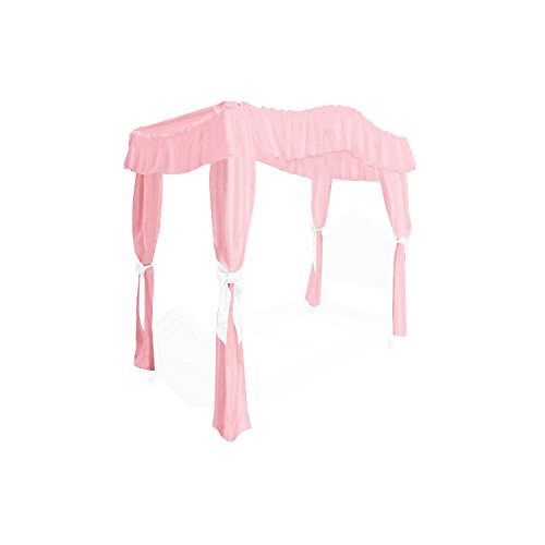 - Girl's Princess Twin Size Solid Light Bubblegum Pink Drape Canopy with Eyelet White Ribbon Ties - Perfect for your existing canopy frame!