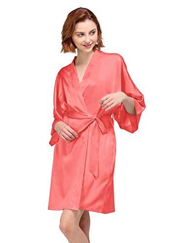 AW Satin Robe Plus Size Short Kimono Robe Women Bathrobe Sleepwear for Birdesmaid Gifts, Coral Pink Bridal Robe XL