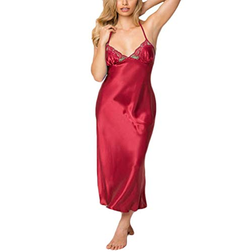 (TWGONE Women Sexy Lingerie Lace Babydoll Underwear Satin Lace Long Gown(XL,Red))