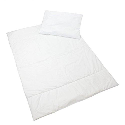 2 tlg. Baby Bettenset Bettdecke und Kissen 100/135 cm mit 40/60 cm Kindersteppbett 4 Jahreszeiten Baby Bettzeug, Farbe: Weiß, Größe: 135x100 cm