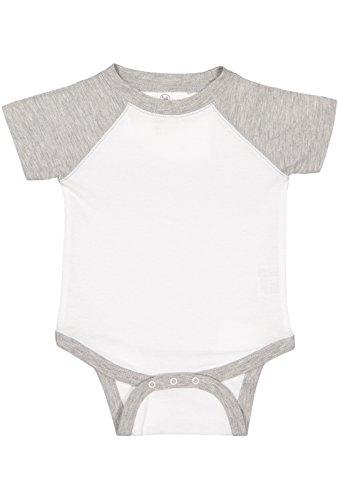 - Rabbit Skins Infant Jersey Raglan Short Sleeve Baseball Bodysuit (White/Vintage Heather, 6 Months)