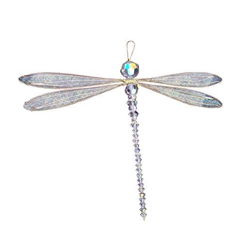 Dragonfly Large Suncatcher Golden-Winged Mobile with Aurora Borealis Swarovsky Body