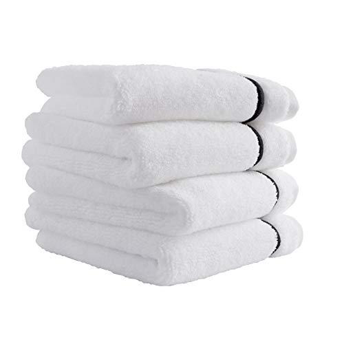 Stone & Beam Hotel Stitch Cotton Washcloth Set, Set of 4, White with Black Stripe
