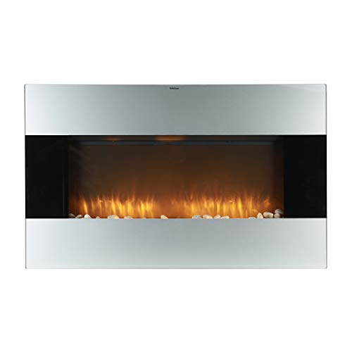 Cheap Caesar Fireplace WFP-38 1500W Adjustable Temperature w/Remote Control Silver 38-inch Wall Mount Electric Fireplace with Stone Pebbles and Flame Effect Black Black Friday & Cyber Monday 2019