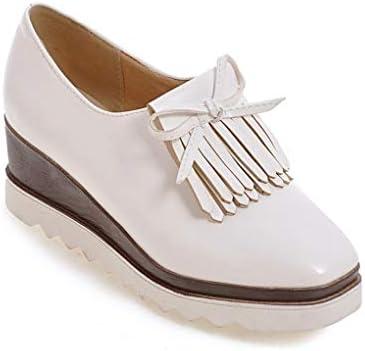Zapatos De Cuña De Plataforma Mujeres Borla Bowtie Casual Brogues College Girls Mocasines De Punta Cuadrada Retro British Wind Thick Bottom Mary Jane Shoes: Amazon.es: Zapatos y complementos