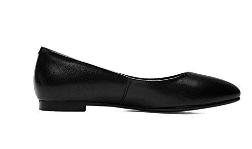 LDMB Womens Pointed toe Chaussures confortables plates de talon plat de bouche de talon bas décontracté pour aider des chaussures , black , 39