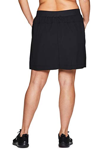 RBX Active Women's Plus Size Stretch Woven Athletic Skort with Attached Bike Short and Pockets