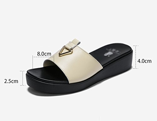 Sandals ZCJB Summer Slippers Leather Outdoor Thick Bottom Outer Wear Beach And Slippers Women's Shoes (Color : Black, Size : 35) Beige