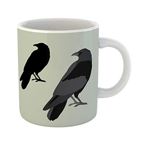 Emvency Coffee Tea Mug Gift 11 Ounces Funny Ceramic Crow Raven Flat Silhouette Black Halloween Gifts For Family Friends Coworkers Boss Mug ()