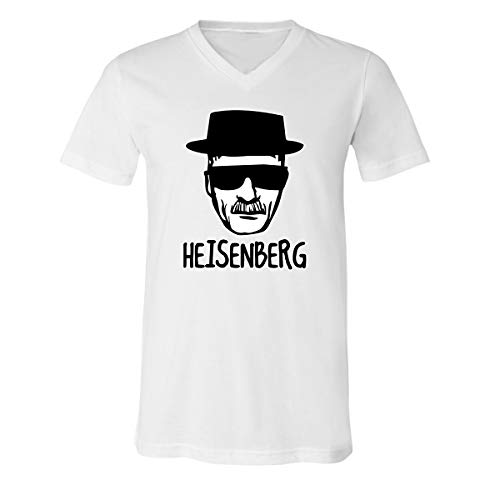 CAMALEN Most Popular Walter White Black Hat and Glasses V-Neck T-Shirts for Men(White,Large) -