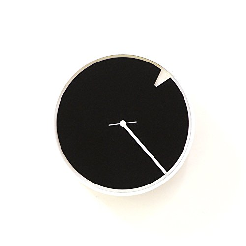 Minimalist II - white wood + black acrylic wall clock with rotating dial