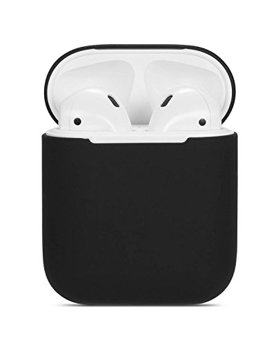 Airpods Case Soft Silicon Skin and Cover with Utral Slim 0.8mm Compatible Apple Airpods Charging Case - Black