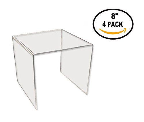 T'z Tagz Brand Clear Acrylic Square Riser Sets & Packs 2 inch - 8inch (acrylic, 8