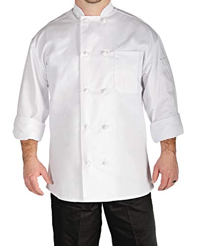 (Natural Uniforms for Denogal Unisex Chef Coat Full Sleve Chef Jacket - Easy-Care with Thermometer Pocket | White Chef Coat )