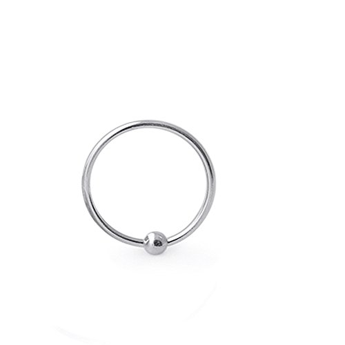 A captive bead nose ring made of Sterling Silver.