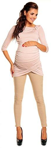 Zeta Ville - De Las Mujeres Maternidad Tramo Túnica Camisa Superior Con Pliegues S-4xl - 995c Ecru