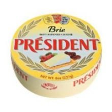 President Precious Plain Brie Soft Ripened Cheese, 8 Ounce -- 6 per case.