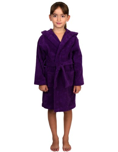 Personalized Terry Cloth Spa Robe - TowelSelections Big Girls Robe, Kids Hooded Cotton Terry Bathrobe Cover-up Size 10 Purple