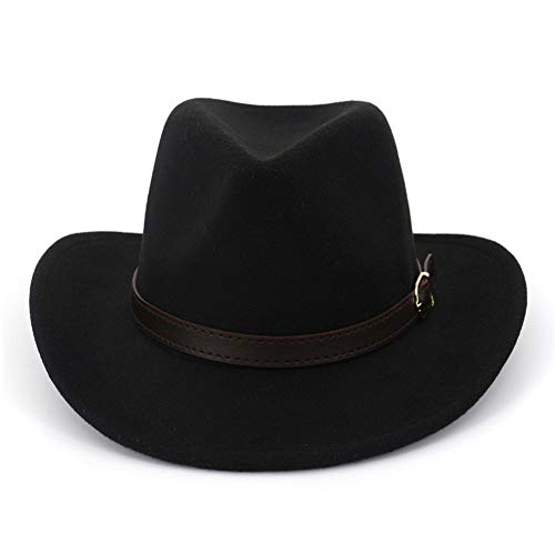 (Lisianthus Men & Women's Felt Gambler Cowboy Hat with Buckle Band Black)