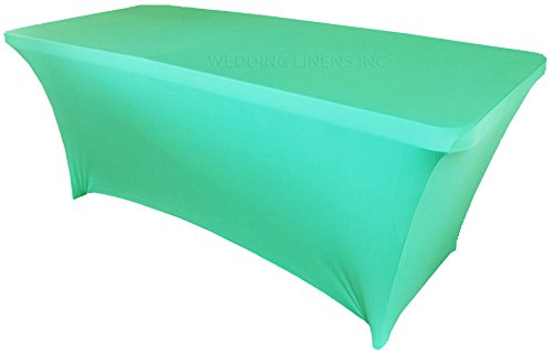 - Wedding Linens Inc. Wholesale (200 GSM) 6 FT Rectangular Spandex Stretch Fitted Table Cover Tablecloths - Tiff Blue/Aqua Blue