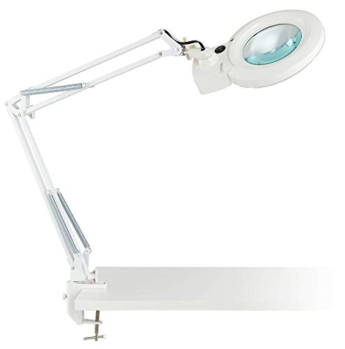 Clancy Modern Desk Table Lamp LED Architect Style White Metal Clamp On Adjustable Magnifying for Office Artwork Craft Sewing – 360 Lighting