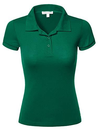 Jade Pique Polo Shirt - Luna Flower Women's Short Sleeve Pique Polo Shirts Jade_Green 3X (GTEW103)