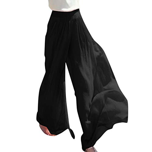 Women Summer Casual Trousers Wide Leg Chiffon Pants High Waist Loose with Lining hot,Black,L,China (Pant Chino Pleated Andrew)