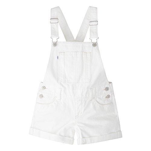 Levi's Girls' Big Denim Shortalls, White, 12