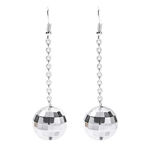Rave Envy Disco Ball Earrings for Women - 70's Silver Halloween Earrings Women's Costume Accessories