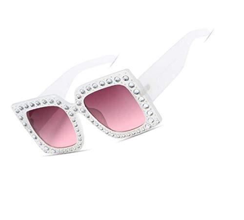 gafas Marco con las de White imitación de los gafas FlowerKui mujeres conducción de hombres sol de pesca de de moda de diamantes de sol 4nzdUq