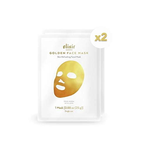Elixir Cosmetics Gold Korean Face Mask - Moisturizing Collagen & Anti Aging Peel Off Facial Sheet Mask - 2 Pack