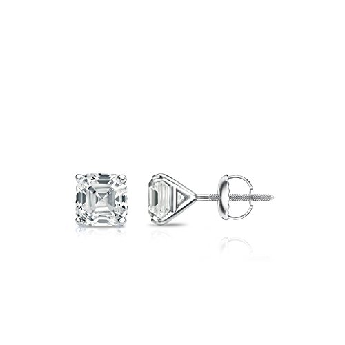 Diamond Wish 14k White Gold Asscher Cut Diamond Stud Earrings (1/2 cttw, H-I, I1-I2) 4-Prong Martini set with Screw-Backs