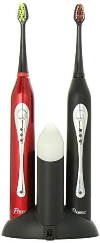 Pursonic double poignée Brosse à dents sonique avec assainisseur UV, noir et rouge