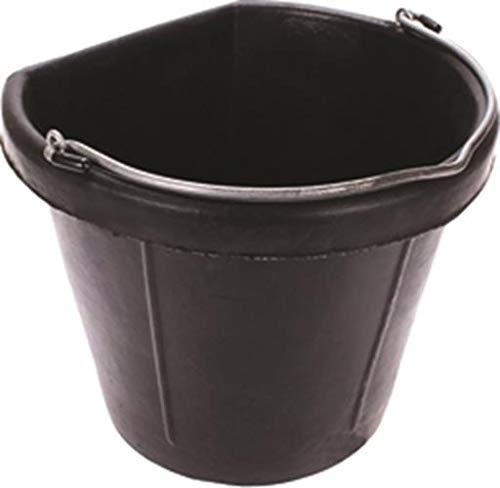 Fortiflex Flat Back Feed Bucket for Horses, 20-Quart, Black by Fortiflex