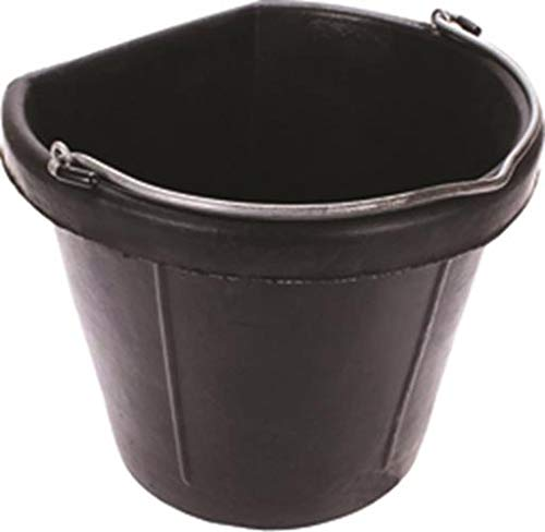Fortiflex Flat Back Feed Bucket for Horses, 20-Quart, Black